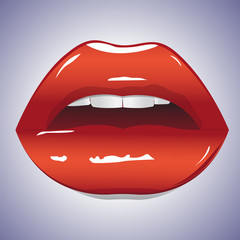 Illustration of glossy lips. Sexy sweet red lips. Shining gloss lipstick, erotic open mouth, sexual wet red lip, white teeth. Vector illustration