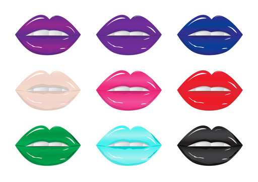 Bright glamorous glossy lips  different colors. Sweet sexy pop art. Shining gloss lipstick, white teeth. Vector illustration of sexy woman's lips with different matte lipstick tones.
