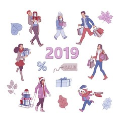 Vector sketch 2019 new year, christmas holiday sale, discount or clearance symbols, leaves and characters set. Happy cheerful men and women, kids running with present boxes, shopping bags, packages