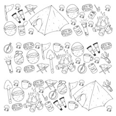 Camping, hiking, scouts. Vector set of doodle icons. Adventure at forest and nature with compass, tent, tincans. Pattern with colorful elements.
