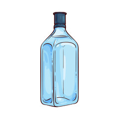 Vector illustration of traditional gin glass bottle with liquid in sketch style - hand drawn full close blue square package with alcoholic drink isolated on white background.
