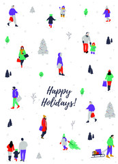 Happy Holidays greeting card with crowd of people walking, carrying shopping bags. Kids playing in the snow. Children and parents performing winter activities. Merry Christmas vector illustration