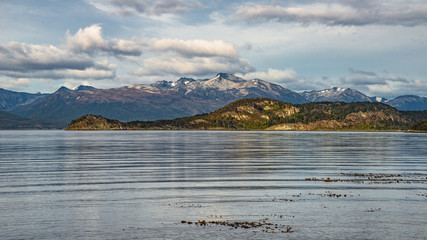 Wonderful panoramic landscape of Tierra del Fuego National Park, Patagonia, Argentina, autumn