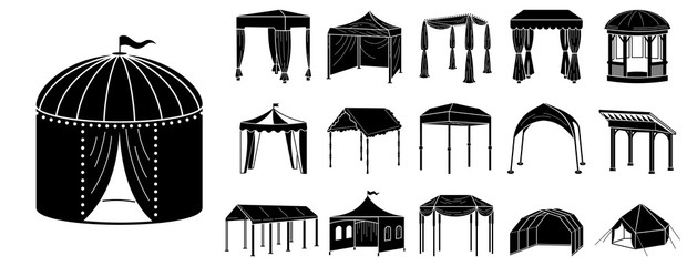Fototapeta Canopy icon set. Simple set of canopy vector icons for web design on white background obraz