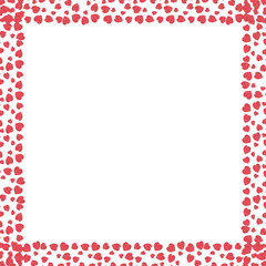 Valentine's background with hearts, white background and red wooden hearts