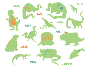 Dino characters. Cute funny dinosaurs illustration vector set isolated on background. Illustration for kids, boys, girls, t-shirt, clothes, games, cards.