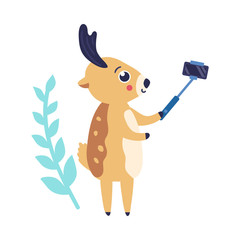 vector cute christmas reindeer making selfie by smartphone with stick with abstract florals background. Funny winter character having fun. Merry christmas, xmas holiday design illustration