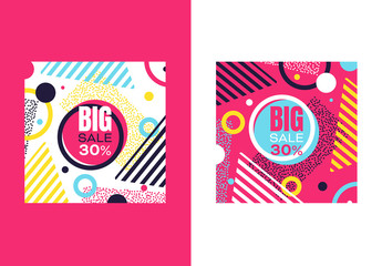 Square Web Banner Layouts with Retro Abstract Elements