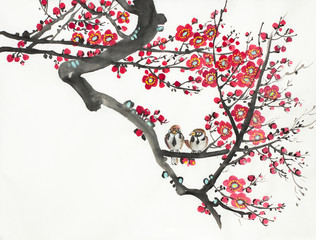 flowering plum and bird branch