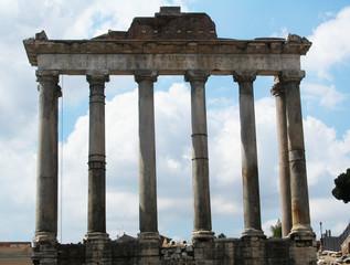 Remains of Tempio di Saturno in Foro Romano. Rome, Italy