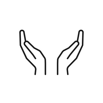 Black isolated outline icon of two hands on white background. Line Icon of two hands.