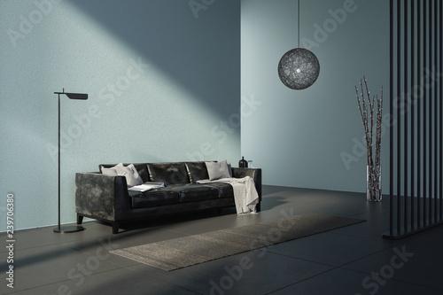 Modernes Wohnzimmer Mit Sofa Und Sonnenlicht Stock Photo And
