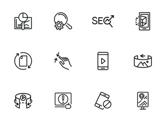 Internet services line icon set. Navigator, video content, VR picture. Modern technology concept. Can be used for topics like app development, virtual reality, mobile applications