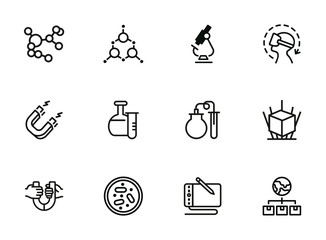 Science line icon set. Magnet, lab flask, microscope. Research concept. Can be used for topics like physics, chemistry, graphic design