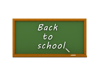 3D illustration of green chalkboard and big back to school text