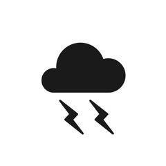 Black isolated icon of cloud with lightning on white background. Silhouette of thunder, thunderstorm. Flat design.