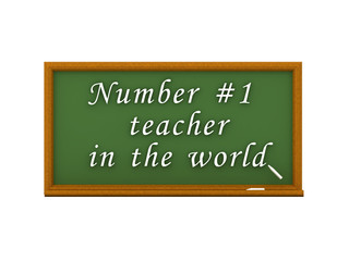 3D illustration of green chalkboard and world best teacher text
