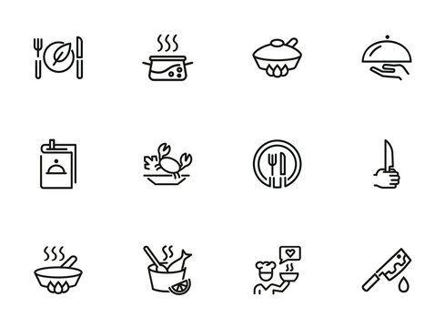 Cooking line icon set. Set of line icons on white background. Food concept. Plate, knife, chicken. Vector illustration can be used for topics like kitchen, food, cooking