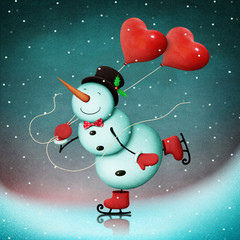 Winter Holiday Greeting Card or poster with  snowman skater for Christmas, New Year or Valentine's Day.