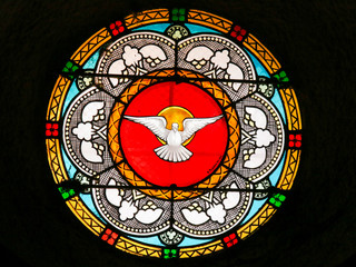 Dove, Holy Spirit - Stained Glass in Antibes Church
