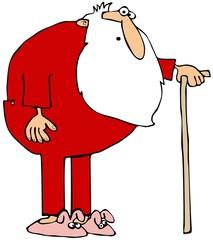 Santa wearing long johns and using a cane