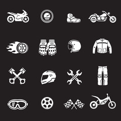 Motorcycles racing icons. Motosport symbols