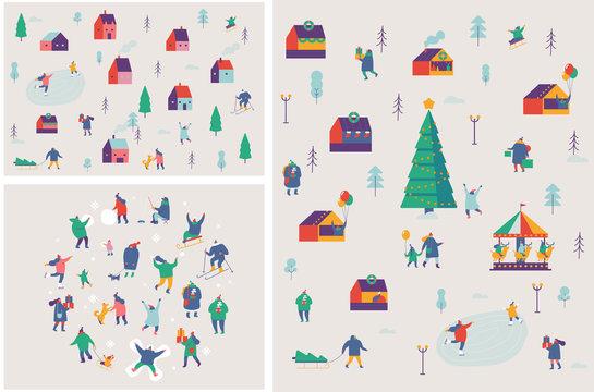 Winter outdoor activities vector set. Winter season background people characters. People have fun. Flat vector illustration.