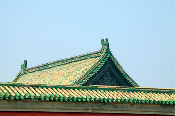 ancient Chinese traditional architectural style wall and roof