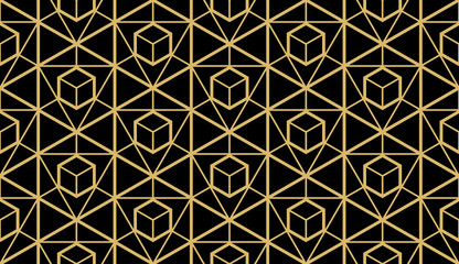The geometric pattern with lines. Seamless vector background. Black and gold texture. Graphic modern pattern. Simple lattice graphic design