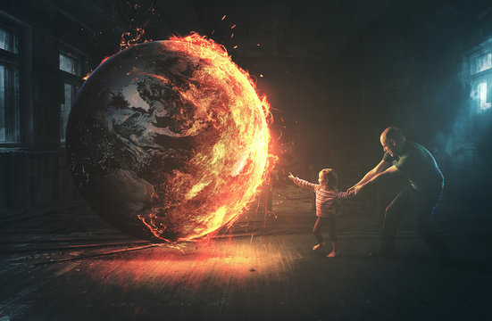 Burning earth and curious child