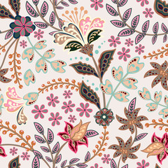 Abstract flowers seamless pattern, floral vector background. Fantasy multicolored flowers in gentle tones on a gray backdrop. For the design of the fabric, wallpaper, wrapper, prints, decoration