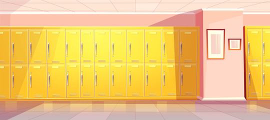 Vector cartoon school or college corridor with bright yellow lockers for students, pupils. University passage, hallway with wardrobes, changing room. Background with pink walls, tile floor.