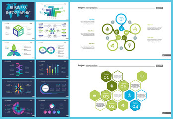 Inforgraphic slide templates for business presentation can be used for annual report, web design, workflow layout. Global business concept. Process, option charts, flowchart, bar graph, donut chart