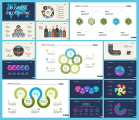 Set of marketing or production concept infographic charts. Graphic elements for presentation slide templates. For corporate report, advertising, banner and brochure design.