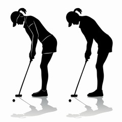 silhouette of a woman playing golf, vector draw