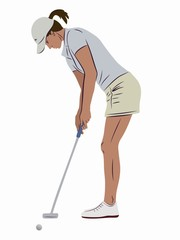 illustration of a woman playing golf, vector draw