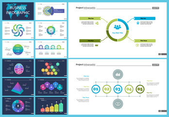 Set of startup or investment concept infographic charts. Business diagrams for presentation slide templates. For corporate report, advertising, banner and brochure design.