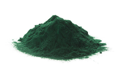 Spirulina Powder Over White Background