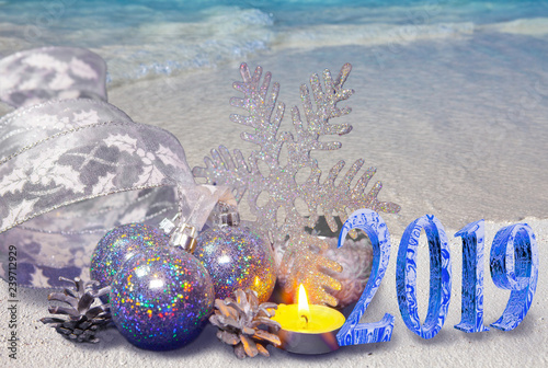Christmas Composition On The Sandy Seashore And The Inscription 2019