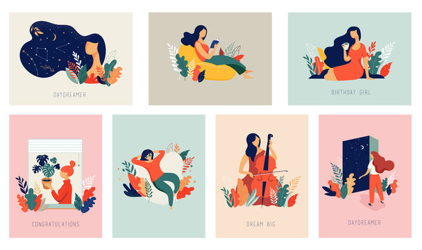 International Women's Day. Vector cards with women, leaves, flowers