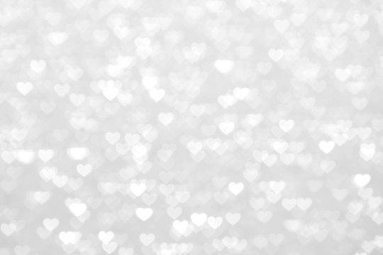 blur heart silver white background beautiful romantic, glitter bokeh lights heart soft pastel shade silver white, heart background colorful silver white for happy valentine love card