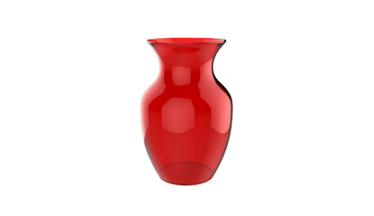 3d illustration of decorative red glass vase isolated on a white background