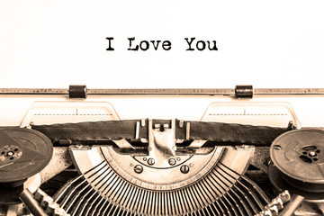 I love you on a piece of paper printed on a vintage typewriter. declaration of love.
