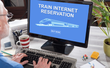 Train internet reservation concept on a computer