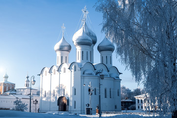Beautiful view of the temple - an Orthodox church in the winter