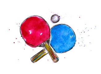 Watercolor illustration of table tennis rackets and ball on a white background.