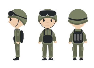 Cartoon soldier mascot set of objects in flat style. Soldiers character collection. Isolated on white background. Vector illustration.