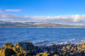 First Snows on the Argyle Hills in Scotland Looking over from Gourock.