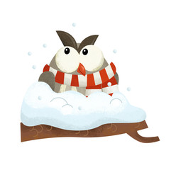 cartoon scene with owl bird santa claus on white background - illustration for children