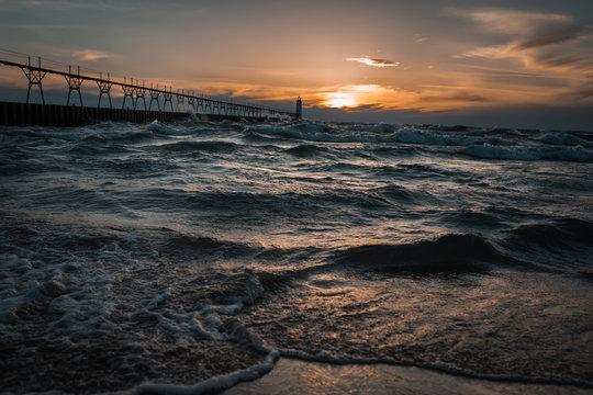 Manistee Michigan Beach Pier
